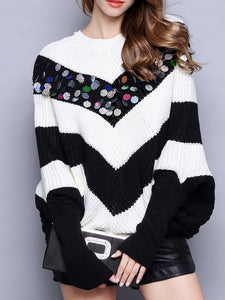 Black-white Long Sleeve Shift Sweaters-Sweaters-Chicloth