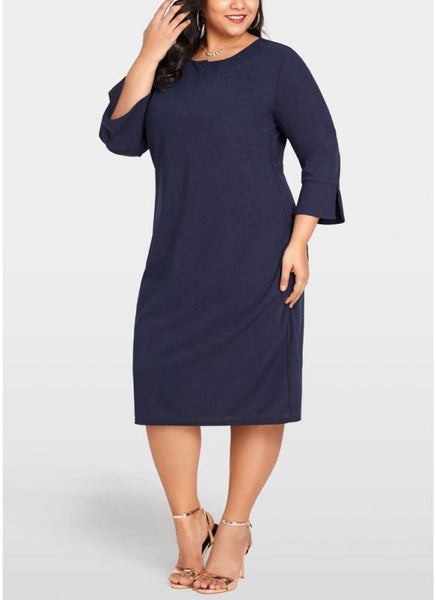 B| Chicloth 2xl Women Plus Size Dress 3/4 Sleeves Pockets Solid Casual Elegant Party Dress