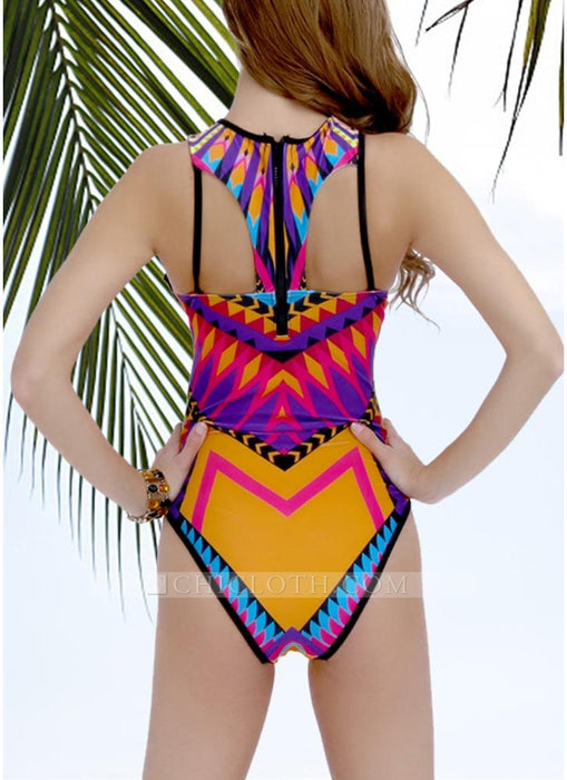 C| Chicloth Geometric Print Cutout Backless Strappy Hollow Out one Piece Swimsuit-nylon,polyester,bikinis-Chicloth