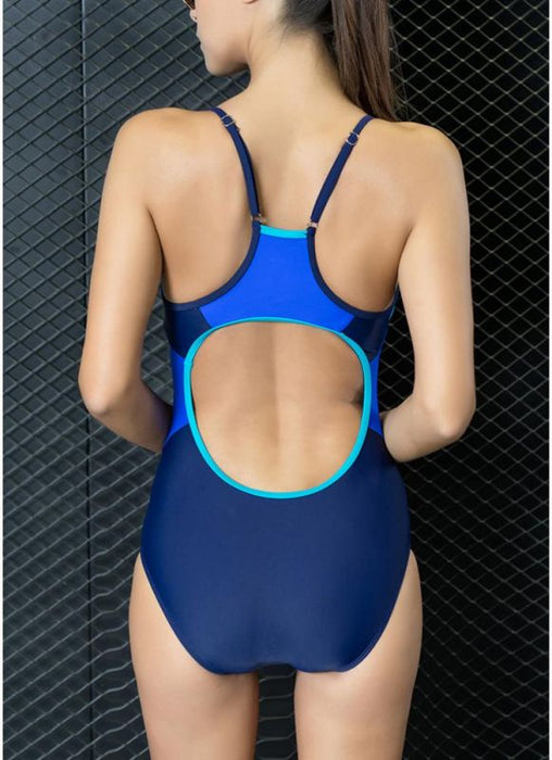 B| Chicloth Women One-Piece Swimwear Color Splice Strappy Sleeveless Padding Wireless Bathing Suit Swimsuits-chinlon,polyester,onepieceswimsuit-Chicloth