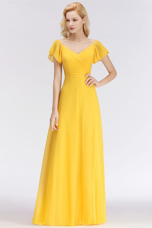 Chicloth Yellow Simple Short-Sleeve Cheap Floor-length Bridesmaid Dress-Bridesmaid Dress-Chicloth
