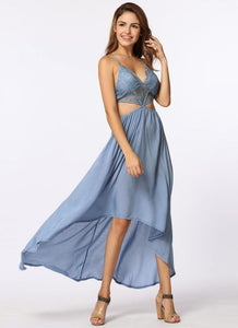 B| Chicloth Hollow Out Maxi Cross Strap Deep V-Neck Beach Summer Long Dress