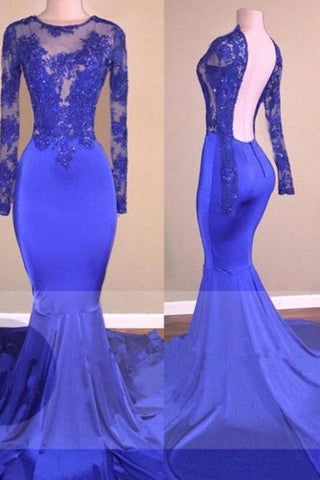 A| Chicloth Sexy Backless Royal-Blue Long-Sleeves Beaded Mermaid Prom Dresses-Prom Dresses-Chicloth