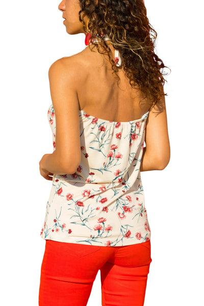 Z| Chicloth White Boho Print Halter Tank Top