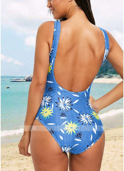 C| Chicloth Women One-Piece Swimsuit Open Back High Cut Contrast Print-chinlon,polyester,onepieceswimsuit-Chicloth