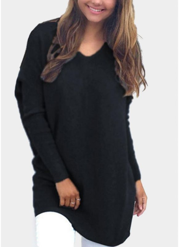 B/ Chicloth Women Long Sleeves Solid Top V-Neck Loose Pullover T-Shirt - Black / L