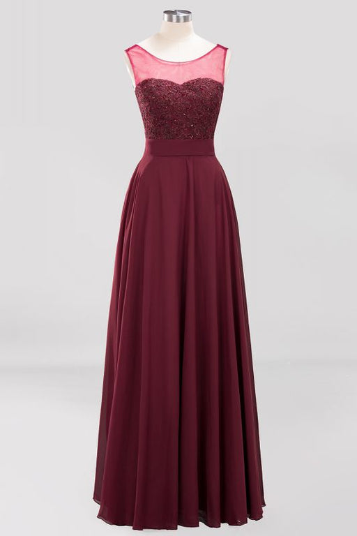 Chicloth A-Line Chiffon Tulle Lace Beadings Jewel Sleeveless Floor-Length Bridesmaid Dresses with Sash-Bridesmaid Dresses-Chicloth