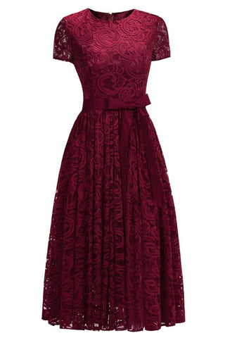 Chicloth Short Sleeves Seath Red Lace Dresses with Ribbon Bow-Lace Dresses-Chicloth