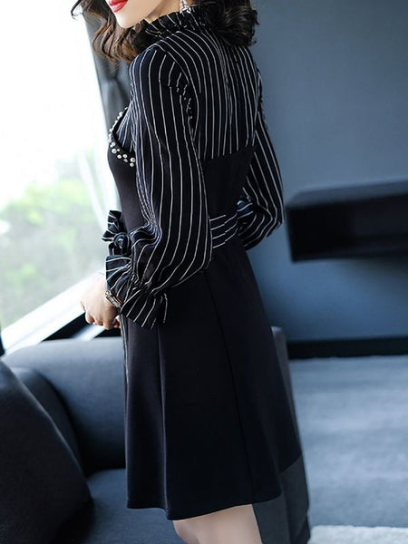 Black Midi Dress Sheath Daily Dress Short Sleeve Elegant Paneled Striped Dress