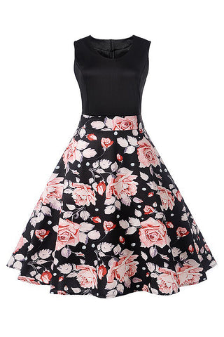 A| Chicloth Floral Print Vintage Dress Rose Printed Sleeveless Party Dress-Chicloth