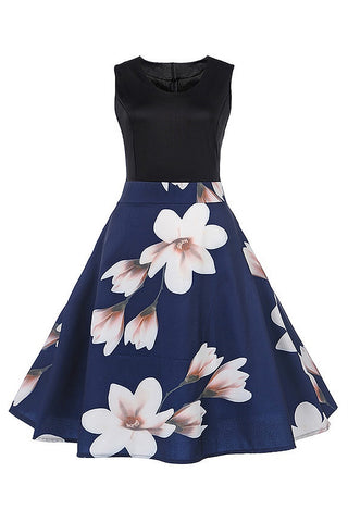 B| Chicloth Magnolia Floral Print Solid Blue Summer Dress Elegant O Neck Vintage Dress - Chicloth