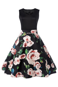 B| Chicloth New Party Dress Elegant O Neck Vintage Dress Floral Print Solid Black Dress - Chicloth