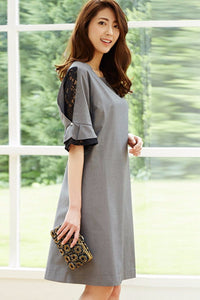 Chicloth Gray Ruffle Sleeves Lace Patchwork Day Dress