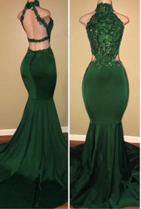 A| Chicloth Green lace mermaid prom dress, green evening dress-Prom Dresses-Chicloth