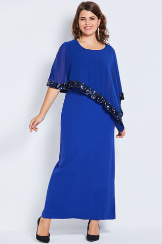 Chicloth Royal Blue Sequins Plus Size Dress - Chicloth