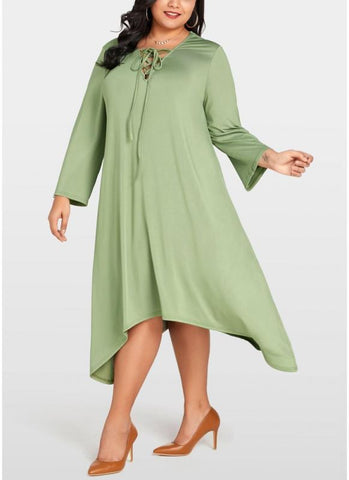 B| Chicloth Women Plus Size Lace Up Long Sleeve Asymmetric Hem Oversized Loose Dress-polyester,anklelength,vneck,plussizedresses-Chicloth