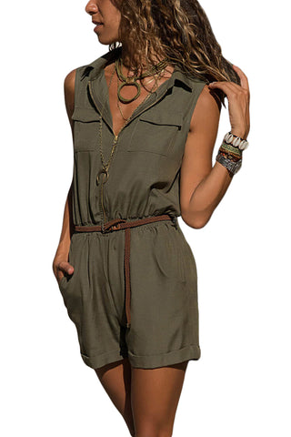 Z| Chicloth Army Green Zippered Shorts Overall For Women