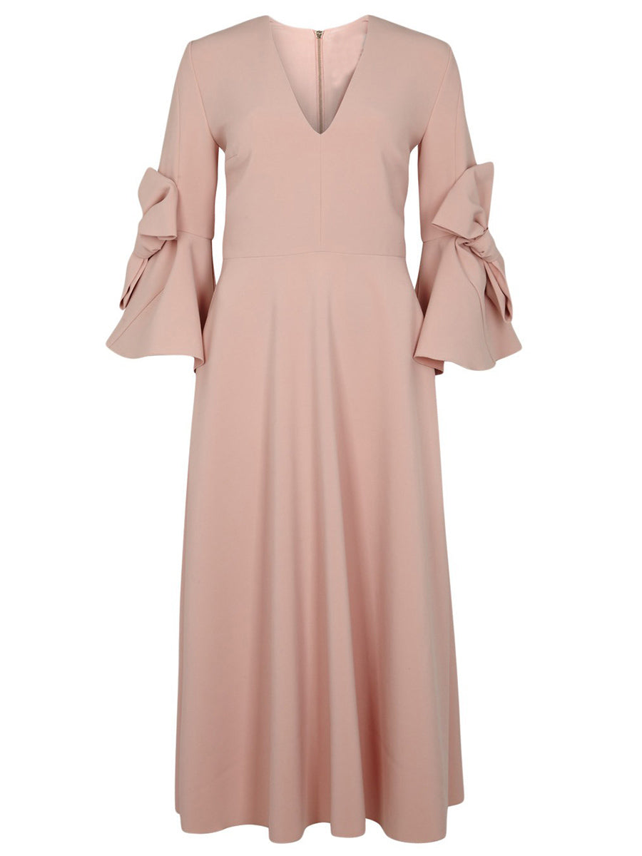 Chicloth Nude V-Neck Long Bow Tie Sleeve Dress - XL / Nude