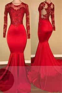 A| Chicloth Long Sleeve Mermaid Lace Prom Dresses 2019 | Red Sheer Tulle Cheap Evening Gown FB0283-Prom Dresses-Chicloth
