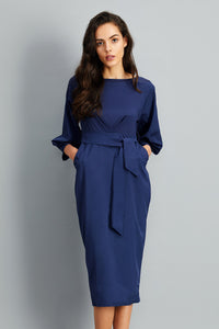 A| Chicloth Elegant Lantern Sleeve Belted Slim Fit Slim Midi Dress - Chicloth