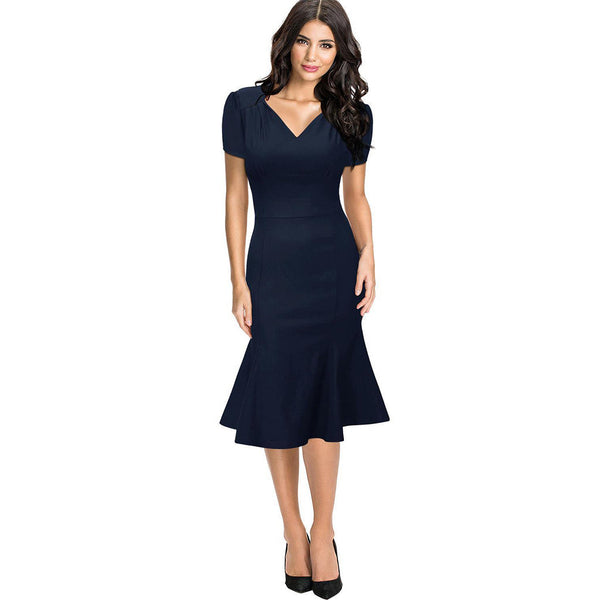 Chicloth A Thousand Miles Work Day Navy Dress