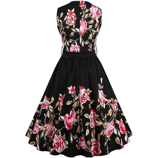 Chicloth Addicted to You Red Rose Floral Dress-Chicloth