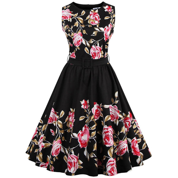 Chicloth Addicted to You Red Rose Floral Dress