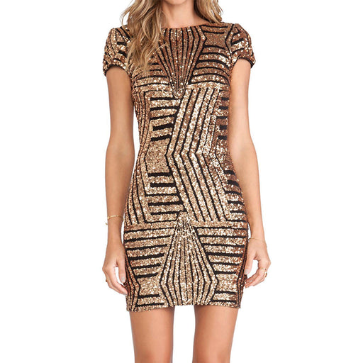 Chicloth Angel Look Silver Striped Sequin Dress-Chicloth