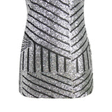 Chicloth Angel Look Silver Striped Sequine Dress