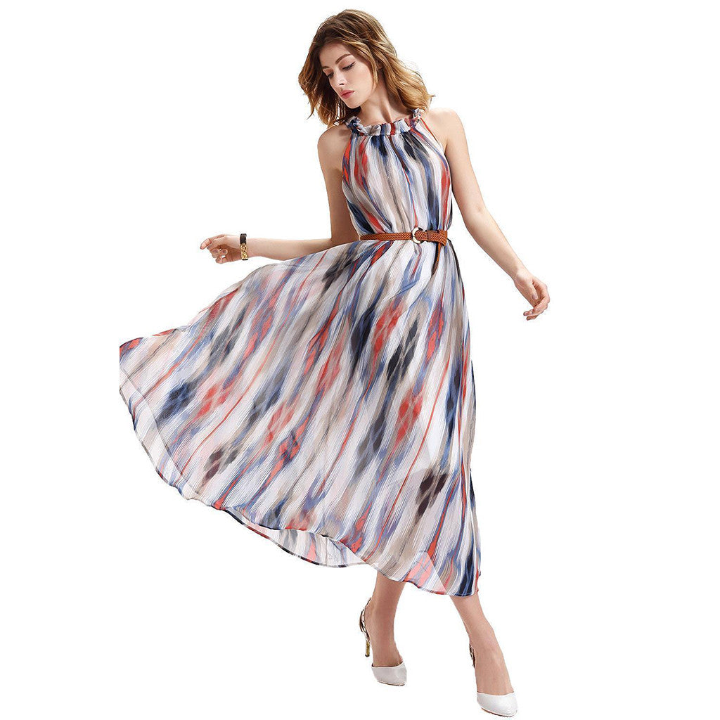 Chicloth As Time Goes By High Neck Striped Dress