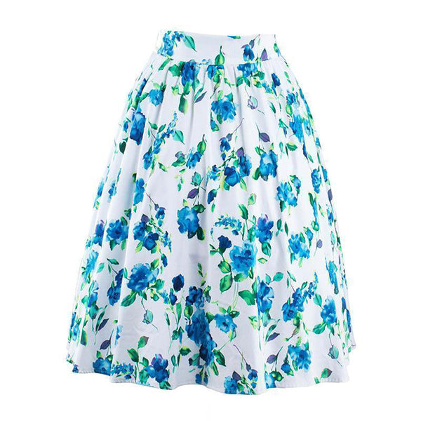 Chicloth Bad Blood Long Floral Pleated Skirt-Chicloth