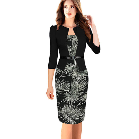 Chicloth Bamboo Leaves Black Work Dress