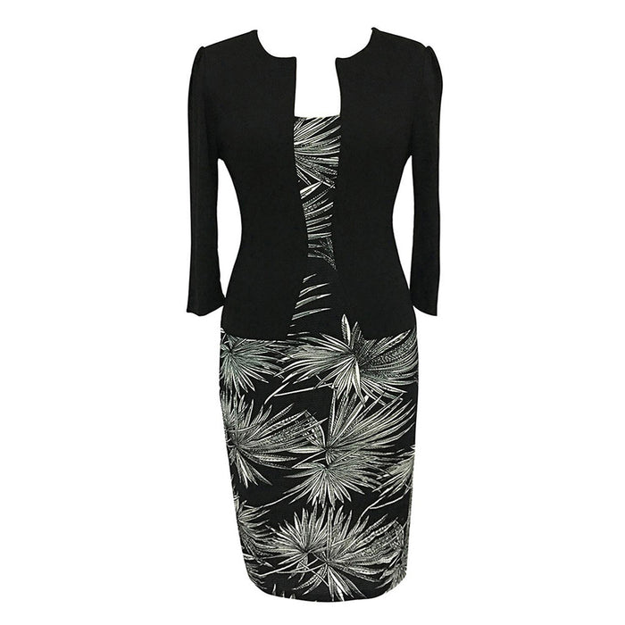 Chicloth Bamboo Leaves Black Work Dress-Chicloth
