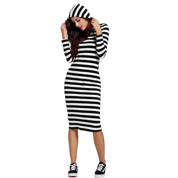 Chicloth Black and White Sport Shirt Dress