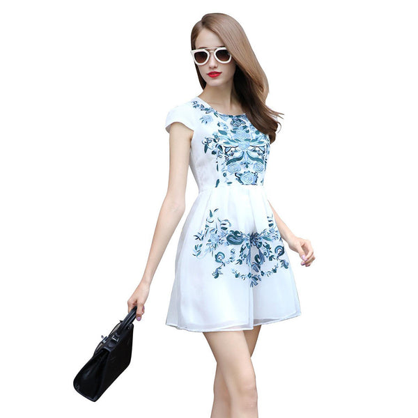 Chicloth Blank Space Printed White Dress