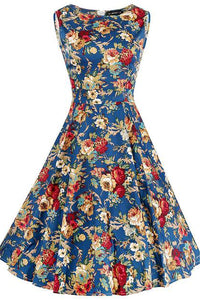 Chicloth Blue Christmas Princess Flroal Dress