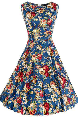 Chicloth Blue Christmas Princess Flroal Dress-Chicloth