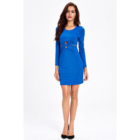 Chicloth Blue Hill Keyhole Front Bodycon Dress