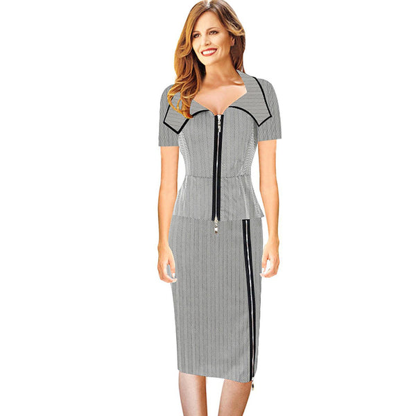 Chicloth Born Free Long Zipper Office Dress