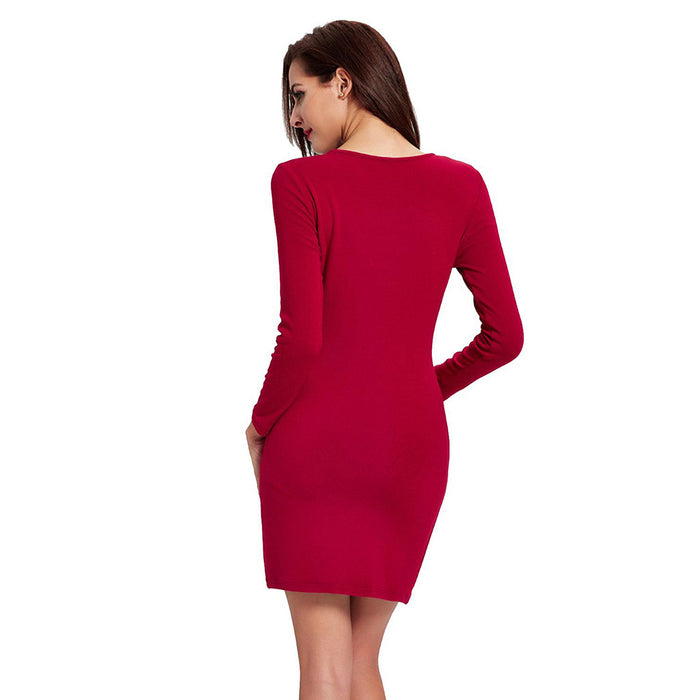 Chicloth Born to Shine Long Sleeve Red Dress-Chicloth