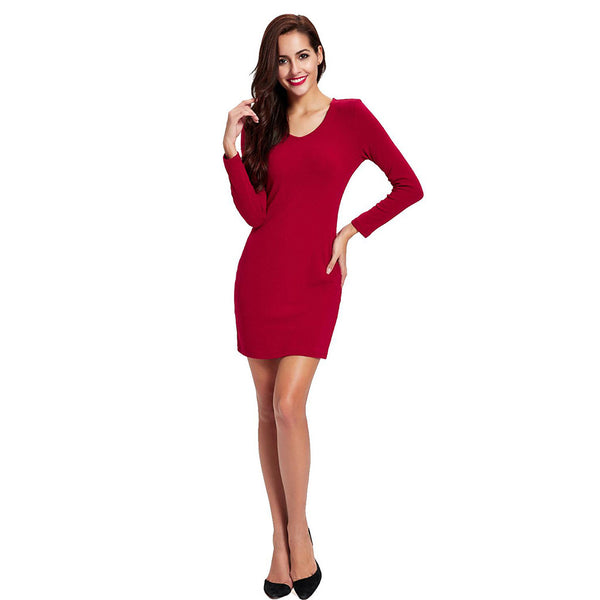 Chicloth Born to Shine Long Sleeve Red Dress