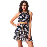 Chicloth Chrysanthemum High Neck Mini Dress