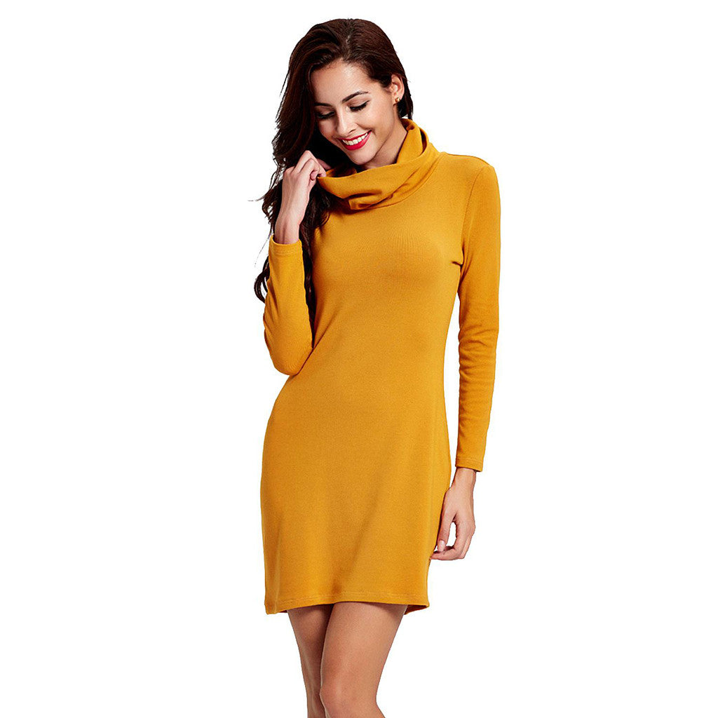 Chicloth High Neck Yellow Undergarment Fall Dress