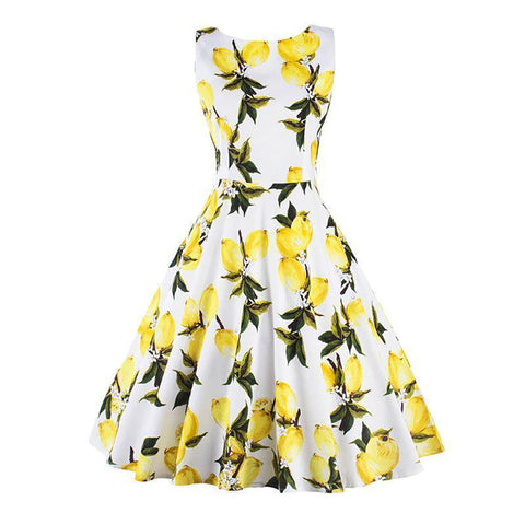 Chicloth Lemon Boat Printed Vintage Dress