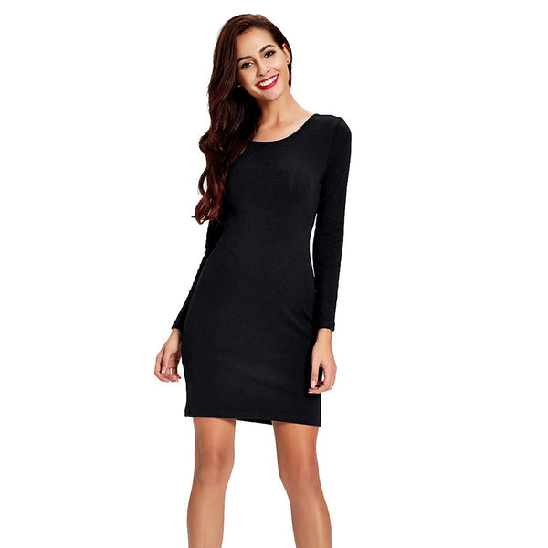 Chicloth Long Sleeve Black Bodycon Dress