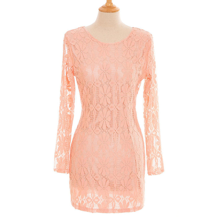 Chicloth Only Time Pink Lace Long Sleeve Dress-Chicloth