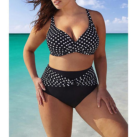 Chicloth Plus Size Polka Dot Swimwear