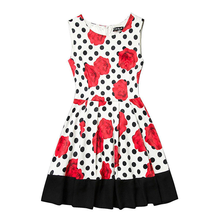 Chicloth Red Flowers Polka Dot Dress-Chicloth