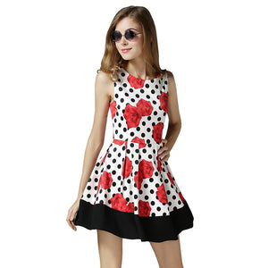 Chicloth Red Flowers Polka Dot Dress