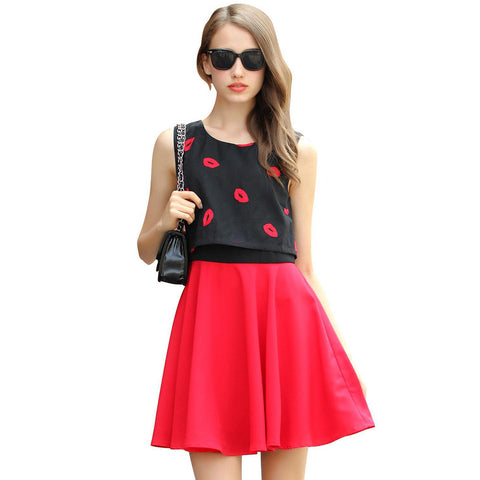 Chicloth Red Lips Two-toned Summer Dress